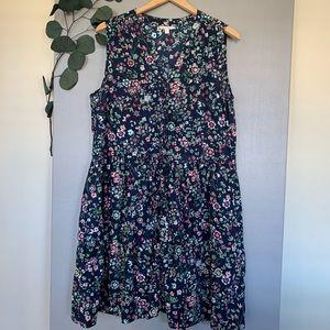 Gap Floral Flare Dress XL Size Cotton Navy Blue